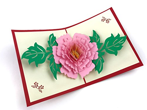 Peony Flat Card (PopLife Peony Flower 3D Pop Up Greeting Card for All Occasions - Loved Ones, Romantics, Floral Lovers - Folds Flat, Perfect for Mailing - Birthday, Graduation, Get Well, Anniversary, Engagement Gift)