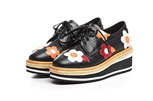 Black Chaussures Femmes à MUYII Compensé Compensées Talon Pour 0fwqd