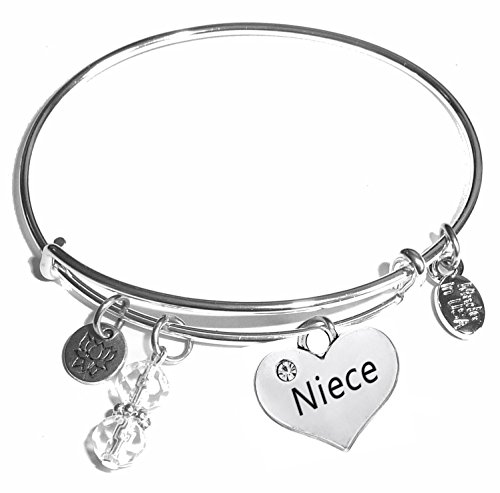 Hidden Hollow Beads Message Charm (14 words to choose from) Expandable Wire Bangle Bracelet, in the popular style, COMES IN A GIFT BOX! (Niece)