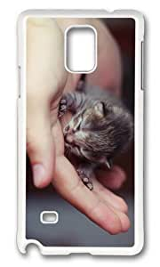 MOKSHOP Adorable cute little kitten Hard Case Protective Shell Cell Phone Cover For Samsung Galaxy Note 4 - PC White