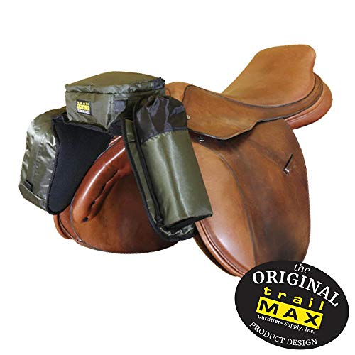 TrailMax Compact English Pommel Pocket Horse Saddlebag with Water Bottle Sleeve for Trail Riding, Works with English, Endurance & Australian Saddles, Sage Green