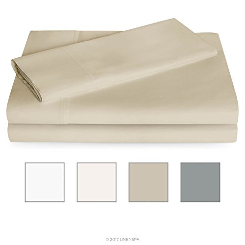 LINENSPA 600 Thread Count Ultra Soft, Deep Pocket Cotton Blend Sheet Set - Twin XL - Sand