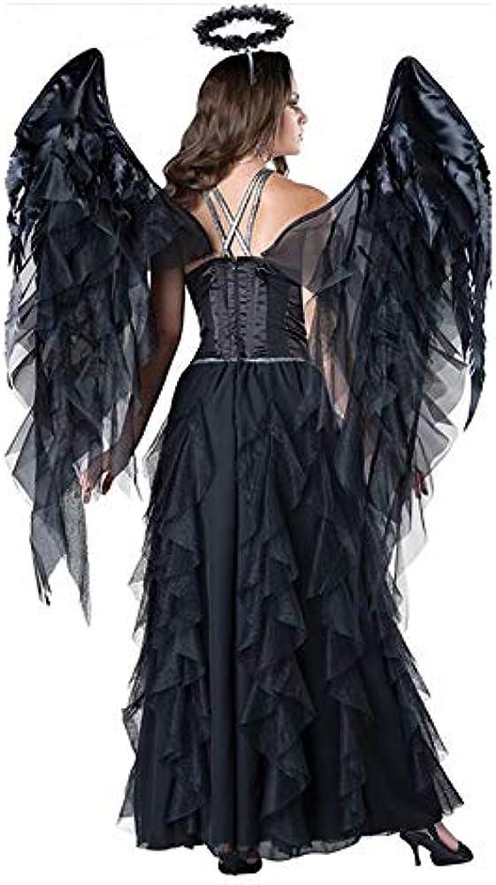 Mujeres Adultas Disfraz De Ángel Malvado De Halloween Fiesta Negra ...
