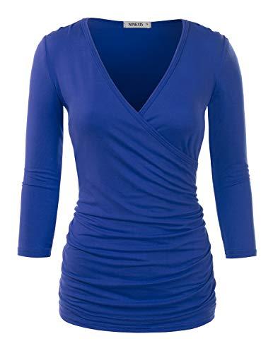 (Doublju Womens 3/4 Sleeve V-Neck Surplice Wrap Shirt with Plus Size Royal Large)