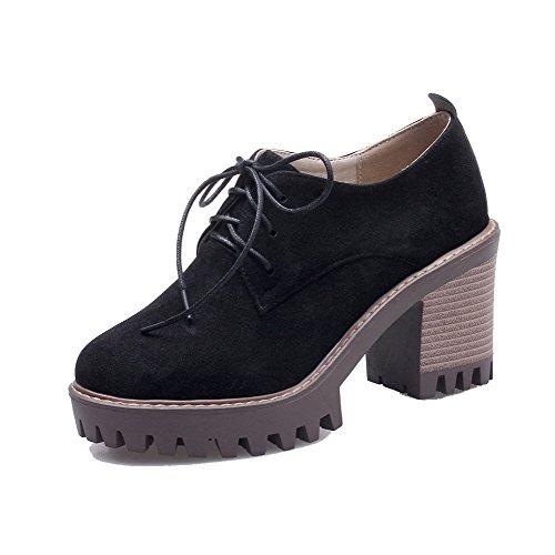 Allhqfashion Femmes Imitation Daim Lacets Bout Rond Talons Hauts Pompes-chaussures Noir