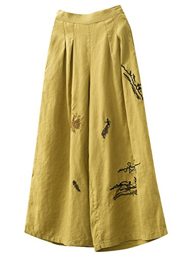 Minibee Women's Embroidery Wide Leg Cropped Palazzo Pants Linen Ethnic Capri Trousers Yellow