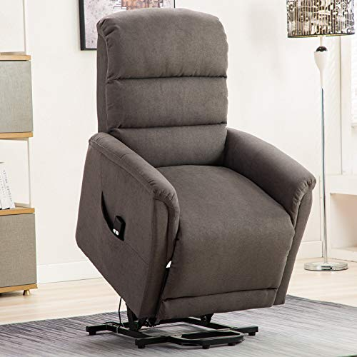 ANJ Power Lift Recliner Lift Chair with Antiskid Fabric for Elderly Smoke Gray (Best Recliners For Women)