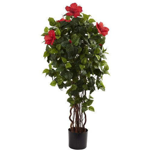 Nearly Natural 5410 Hibiscus Tree, 4-Feet, Green (Flower Topiary Silk)