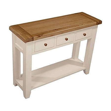 Jenison Mesa consola blanca, mesa de roble y pino con 3 cajones ...