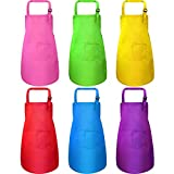 6 Pieces Kids Apron with Pocket Adjustable Children Chef Apron for Baking Painting Cooking (Large)