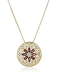 18k Yellow Gold-Plated Sterling Silver Gemstone & Filigree Pendant Necklace, 18""