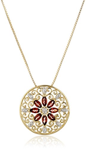 - 18k Yellow Gold Plated Sterling Silver Genuine Garnet and Diamond Accent Filigree Mandala Pendant Necklace, 18