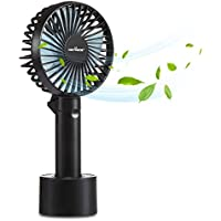 KEYNICE Mini Personal Fan, Battery Operated Table USB Fan, Powerful Wind Cooling Desk fan with 3 Speeds Foldable Pocket fan for Travel, Home, Office, Library, Camping - Black