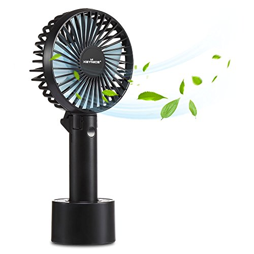 KEYNICE Mini Personal Fan, Battery Operated Table USB Fan, Powerful Wind Cooling Desk fan with 3 Speeds Foldable Pocket fan for Travel, Home, Office, Library, Camping - Black Battery Operated Pocket