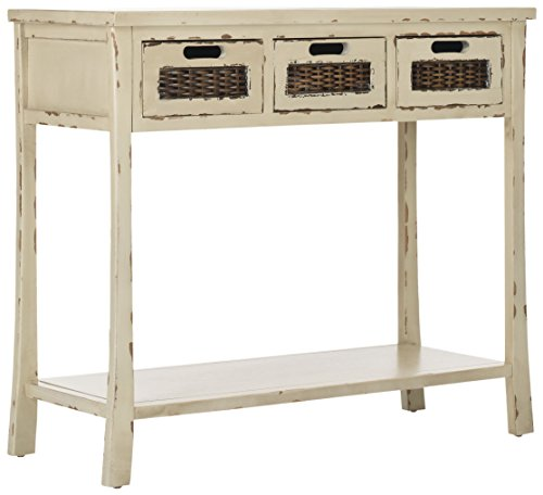 Distressed Finish Sofa Table - Safavieh American Homes Collection Autumn Vintage Cream 3-Drawer Console Table