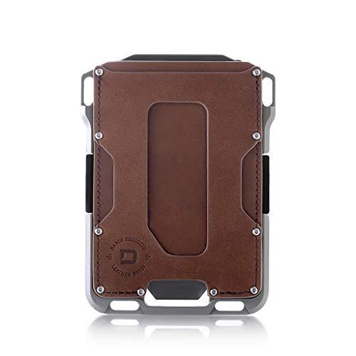 Dango M1 Maverick Wallet - CNC-Machined Aluminum, RFID Blocking, Made in USA (Brown Rawhide/Raw Aluminum) ()