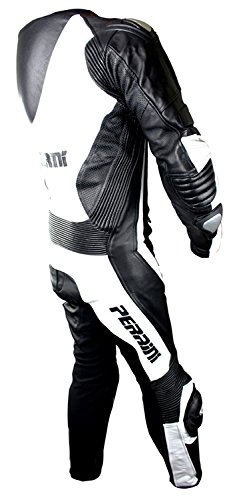 1 Pc Perrini White and Black Genuine Cow Leather Motorbike Riding Motorcycle Racing Suit by PERRINI (Image #2)