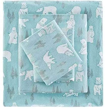 True North by Sleep Philosophy Cozy Flannel 100% Cotton Cute Warm Ultra Soft Cold Weather Sheet Set Bedding, Full Size, Blue Polar Bears 4 Piece best full-sized flannel sheets