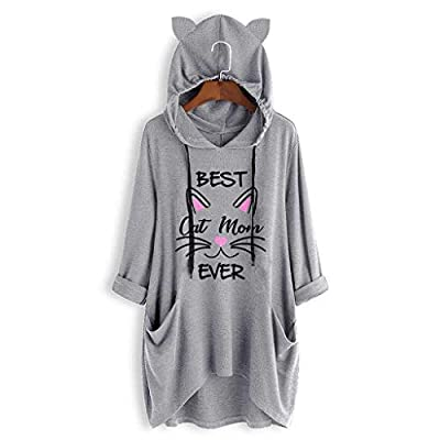 Wenini Womens Hooded Blouse Girls Casual Cartoon Print Short Sleeve Pockets T Shirt Tunic Irregular Loose Top Blouse Hoodies : Sports & Outdoors