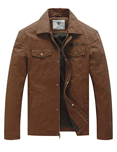 WenVen Men's Canvas Cotton Military Lapel ()