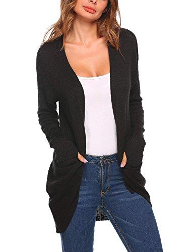Billti Womens Open Front Draped Knit Long Cardigan