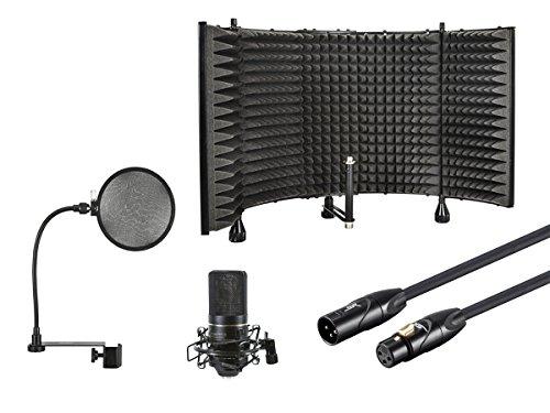 Monoprice Desktop Recording Kit - Includes Microphone Isolation Shield + Pop Filter + Large Diaphragm Condenser Microphone + XLR Cable 10ft (Bundle)