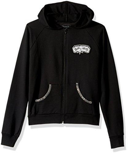 Majestic Threads San Antonio Spurs Women's California Hooded Fleece W/ Swarovski Crystals, Medium/Black (Majestic Athletic Hooded Fleece)