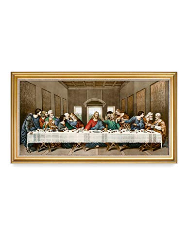 DECORARTS -The Last Supper, Leonardo da Vinci Classic Art Reproductions. Giclee Print& Gold Framed Art for Wall Decor. 24x12, Total Size w/Frame: 26.5x14.5