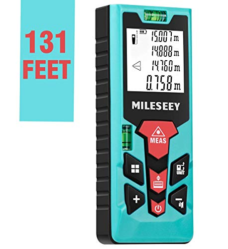 MiLESEEY Laser Measure(S2)131ft Laser Distance Meter wtih Units Conversion for M/Ft/In,2 Bubble Level,Backlit LCD Display,Mute Measure Pythagorean Mode,Area and Volume, Digital Laser Measurement Tool