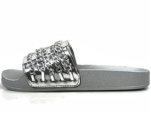 W On Willow Sandal Slip Wells Collection Chain Comfort Slides Soft Flat Women's Silver Pxqq4wO