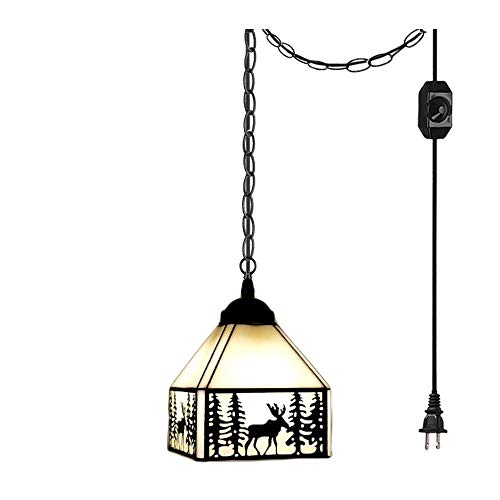 ANYE Tiffany Retro Lighting Deer Shadow Art Handmade Glass Shade Iron Chain Lighting 15ft UL Dimmable Switch Cord Chandelier Bulb Not Included ()