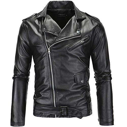MICHAELAN Mens Causal Belted Design Slim Pu Leather Biker Zipper Jacket Coat Faux Leather Motorcycle Jacket (US L=XXL) Black