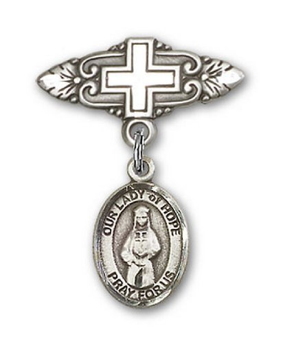 Icecarats Créatrice De Bijoux En Argent Sterling O / L D'Espoir Broche De Badge Charme Avec Une Croix X 3/4