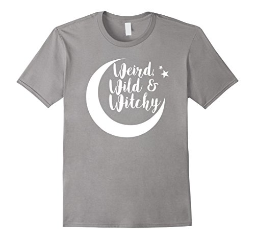 Mens Weird Wild and Witchy Halloween T-Shirt for Women Large Slate