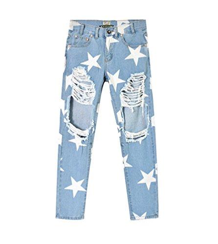 Strappato Donna Denim Yilianda Boyfriend Pants Da Jeans Pantaloni Matita Blu wBHqav