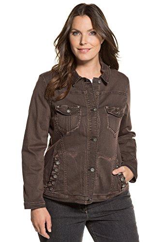 Ulla Popken Women's Plus Size Cold Dye Stretch Denim Jacket Dark Brown 20 712308 30 ()