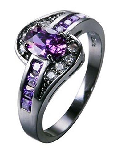 Fortonatori Purple Amethyst Oval Ring Engagement Promise Vintage Cubic Zirconia Black Gold Filled - Rims Zinger