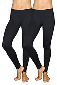 90 Degree by Reflex Power Flex Yoga Pants - Black 2 Pack Medium