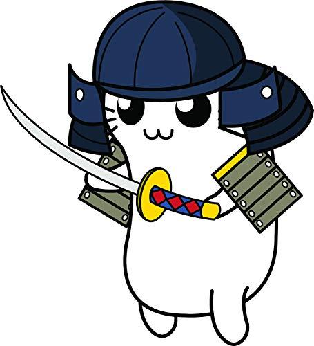 Cute Kawaii Kitty Cat in Halloween Costume Cartoon Emoji Vinyl Sticker, Samurai Warrior]()