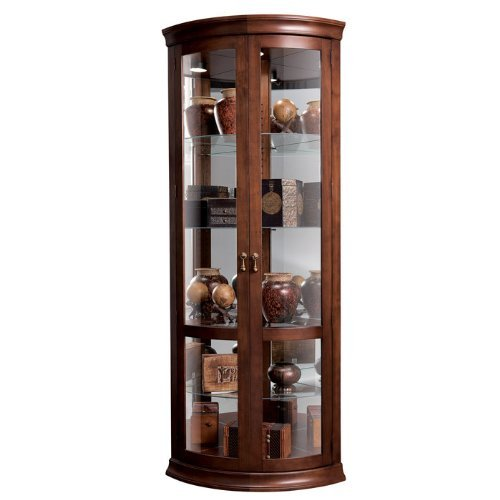 Howard Miller Chancellor 680-503 Corner Curio (Cherry Glass China Cabinet)