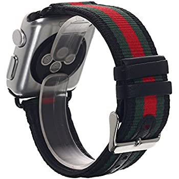 gucci apple watch band. apple watch band, pandawell\u0026trade; nylon with genuine leather sport replacement strap wrist band gucci e