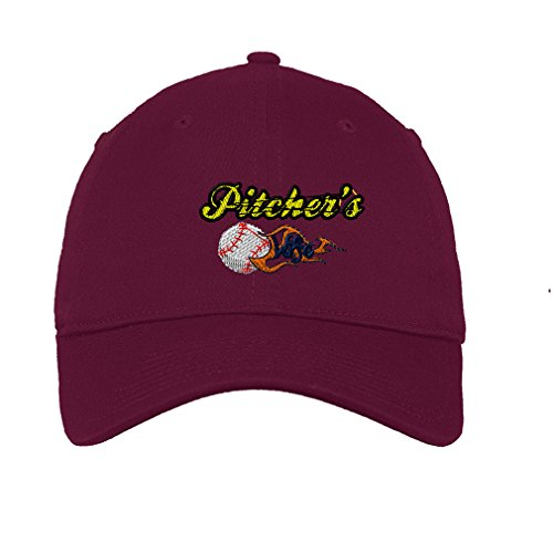Speedy Pros Cotton Low Profile Hat Sport Baseball Pitcher'S Wife Embroidery Burgundy ()