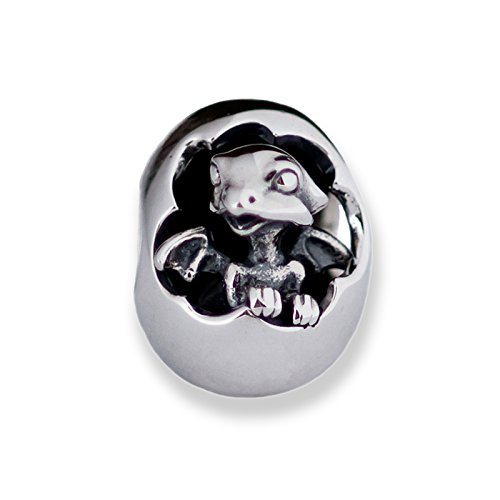 Hatching Baby Dragon Sterling Silver Charm Bead Pendant S925, Cute Little Hatching Dragon Egg Charm Pendant, Silver Dragon Egg bead pendant necklace, Pandora compatible Charm Jewellery (Egg Italian Charm)