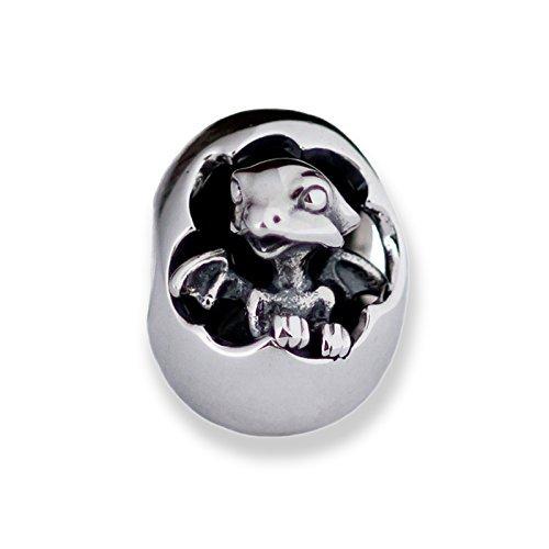 Hatching Baby Dragon Sterling Silver Charm Bead Pendant S925, Cute Little Hatching Dragon Egg Charm Pendant, Silver Dragon Egg bead pendant necklace, Pandora compatible Charm Jewellery (Charm Egg Italian)
