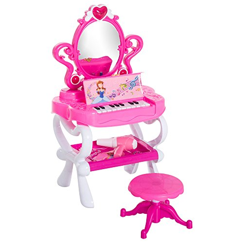 Qaba 2-In-1 Kids Piano Vanity Table Stool Princess Pretend Play Set with Lights, Sounds, and Accessories - Pink/White by Qaba