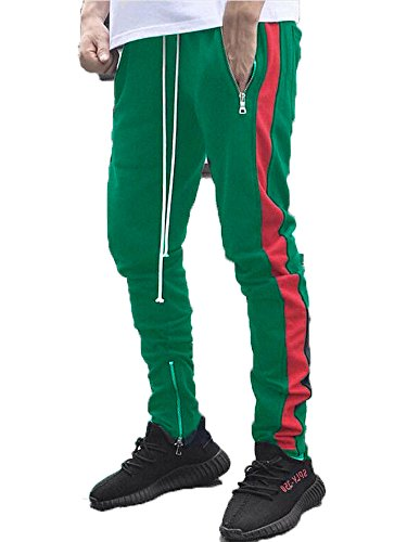 Jogger Track (Pxmoda Men's Casual Hip Hop Jogger Pants Running Sports Track Pants (M, Green-Red))