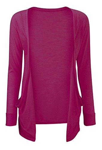 Jersey Poche online Boyfriend Devant Cardigan asfashion Plus Ouvert Taille Uni Fuschia Couleur Femmes a86W4PBPqw