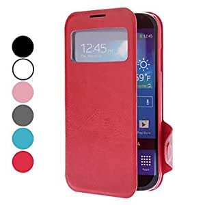GJY PU Leather Case with Viewable Screen and Stand for Samsung Galaxy S4 I9500 (Assorted Colors) , Blue