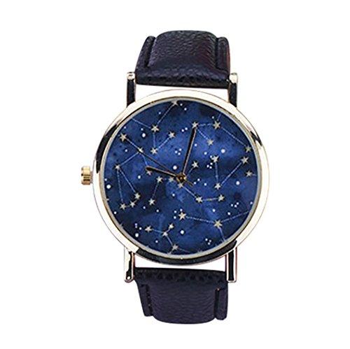 Men Women Girls Watches On Sale Clearance Cuekondy Unisex Casual Leather Band Night Sky Element Analog Quartz Wrist Watch Bracelet (black)