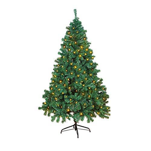 OUSFOT Árbol de Navidad Artificial Decoracion Navideña 182 cm con 400 Leds 8 Modos de iluminación Material PVC Natural Verde con Soporte en Metal